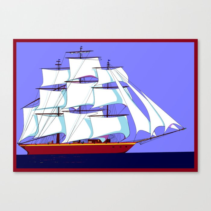 A Clipper Ship Full Sail in Still Waters Canvas Print