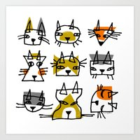 LINE CATS Art Print