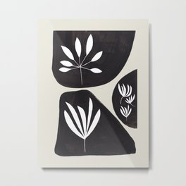 Black & White Minimalist Tribal Floral Fossilized Ink Shapes Dark Abstract Art Metal Print