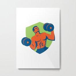 Strongman Crossfit Lifting Dumbbells Shield Retro Metal Print