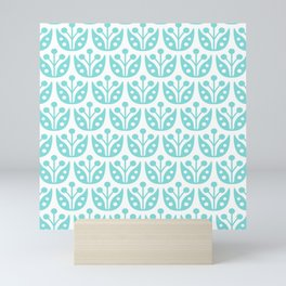 Mid Century Modern Flower Pattern 731 Turquoise Mini Art Print