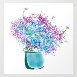 Vibrant Colors Of Hydrangeas Painting Art Print