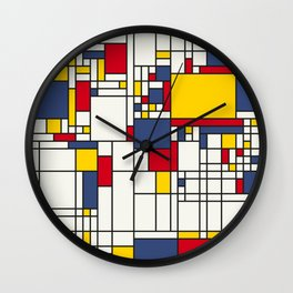 World Map Abstract Mondrian Style Wall Clock