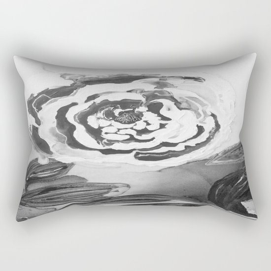 Mother's Day Roses Silver Year Black and White Rectangular Pillow