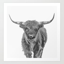 Black and White Cow Art Print