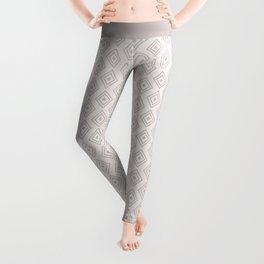 Mauve pink gray hand drawn geometrical diamond pattern Leggings