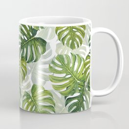Tropical Monstera Leaf Pattern Coffee Mug