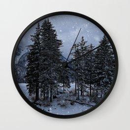 Trees At The Frozen Lago del Predil Wall Clock