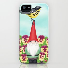 gnome with magnolia warbler and pansies iPhone Case