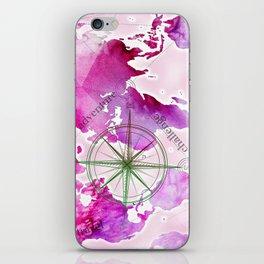 Watercolor map (magenta) iPhone Skin