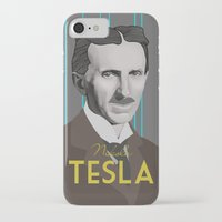tesla iPhone & iPod Cases featuring Tesla by DariyCraft
