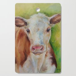 CALF Cute farm animal portrait oil painting Cutting Board