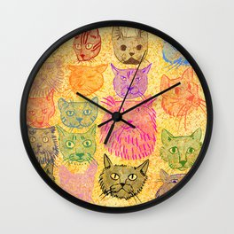 Cat Here Cat There Wall Clock