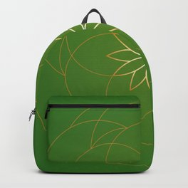 Minimalist Sacred Geometric Succulent Flower in Gold and Emerald Green  Backpack