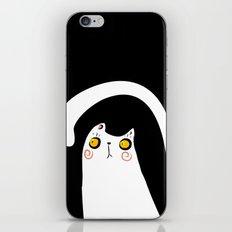 Dark Night White Cat iPhone Skin