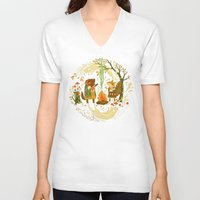 lady gaga V-neck T-shirts featuring Animal Chants & Forest Whispers by Teagan White