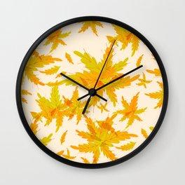 Exotic Tropical oak leaves pattern Wall Clock