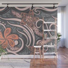 Polynesian Pink Tribal Print Wall Mural