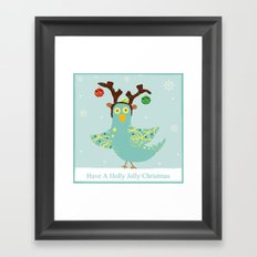 Holly Jolly Christmas Birdie Framed Art Print