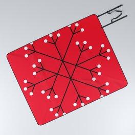 Mod Snowflake Dark Cherry Picnic Blanket