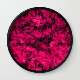 Retro Abstract Magenta Rose Posie Pink Wall Clock