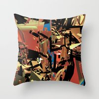 nietzsche Throw Pillows featuring Nietzsche Walks Out At Bayreuth (The Theater of Noisea)  by Lanny Quarles