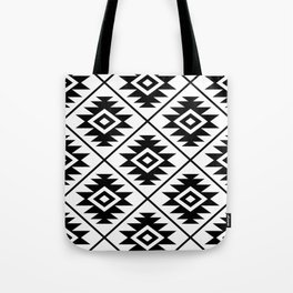 Aztec Symbol Pattern Black on White Tote Bag