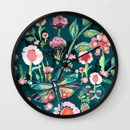 Botanical Dragonfly Garden Wall Clock