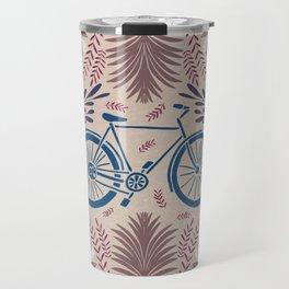 Bike and Flowers // Hand drawn Folk Art // Blue and Red Travel Mug