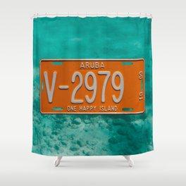 1999 Aruba License Plate One Happy Island Tag Shower Curtain