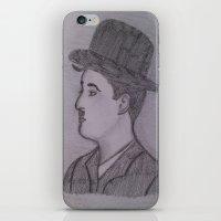 charlie chaplin iPhone & iPod Skins featuring Charlie Chaplin by Natasha Lake