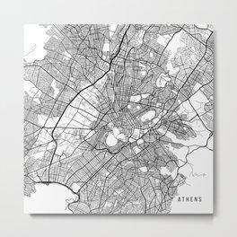 Athens Map, Greece - Black and White Metal Print
