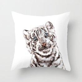 Baby White Tiger Throw Pillow