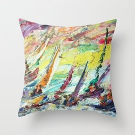 Italian American Masterpiece 'Sirena Boats' Sailing Yachts by Alfred Crimi Throw Pillow