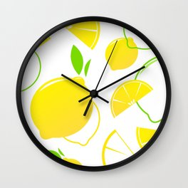 Design citruses : yellow green Wall Clock