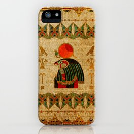 Egyptian Horus Ornament on Papyrus iPhone Case