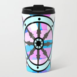 Ship's wheel on abstract marine background Travel Mug
