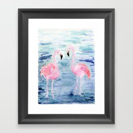 flamingo loves Framed Art Print