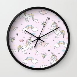 Unicorn & Rainbows Light Pink Wall Clock