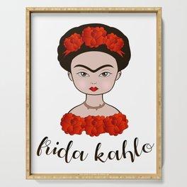 Cartoon portrait of Frida Kahlo Serving Tray