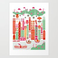 hong kong Art Prints featuring Hong Kong by Rafael Macho