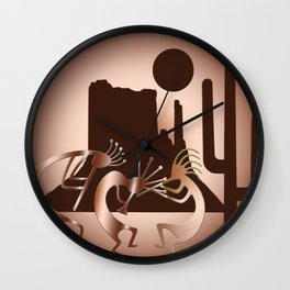 Kokopelli in the Southwest Brown Wall Clock
