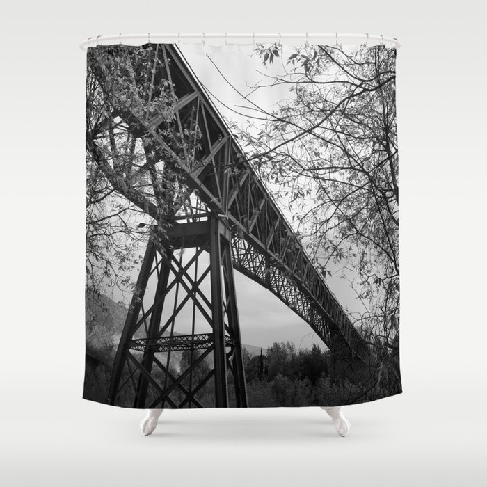 Eiffel. The mystery train bridge. BW Shower Curtain