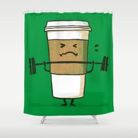 coffee Shower Curtains featuring Strong Coffee by Picomodi