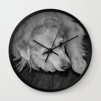 golden retriever Wall Clocks featuring Golden retriever by Mauricio Togawa