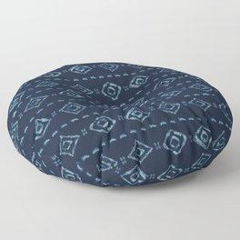 Indigo Blue Batik Dye Hand Drawn Grunge Diamond Floor Pillow