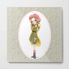 JAPANESSE DOLL ILLUSTRATION BY ALBERTO RODRÍGUEZ Metal Print