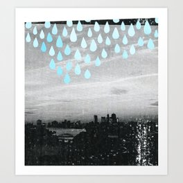 rainy day in boston Art Print
