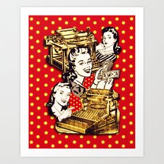 Quirky Office Gals Art Print