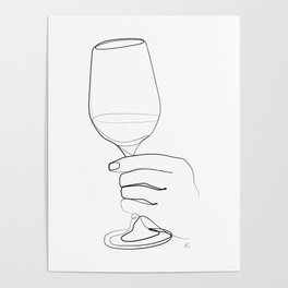 """"""" Kitchen Collection """" - Hand Holding Wine Glass Poster"""